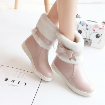 Sweet beauty bow duantong Women's boots winter shoes (Pink)