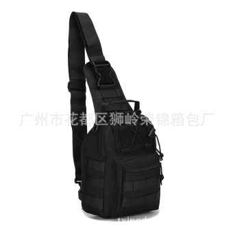 Tactical Canvas Chest Sling Packs Military Cross Body Shoulder Bag Sling Backpack Rucksack for Outdoor Sport Travel ,Black Size:F - intl