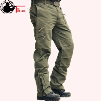Tactical Pants Male 101 Airborne Casual Plus Size Cotton Trouser Multi Pocket Military Style Army Camouflage Men's Cargo Pants Army Green - intl