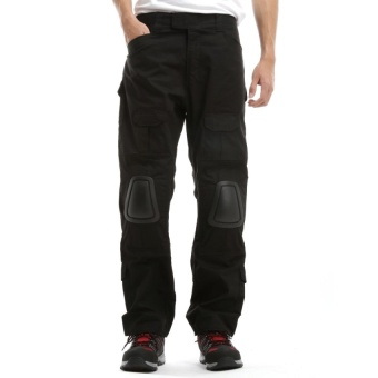 Tactical Pants With Knee Pad Protection Black - intl