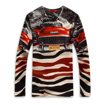 Taddlee Brand Mens T Shirts Men Casual Long Sleeve T-Shirt V-neck Cotton Men 3D Printed tshirt Man Tops Tees Brand Fall Clothing - intl