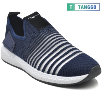 Tanggo F12 Fashion Sneakers Korean Mesh Shoes Light Breathable Slip-On for Men navy blue
