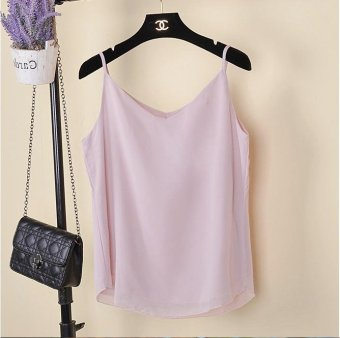 Tank Top Women New Summer Sleeveless Shirt V-neck Cami Loose CasualFemale Tops Vest Ladies Clothing(Pink) - intl
