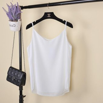 Tank Top Women New Summer Sleeveless Shirt V-neck Cami Loose CasualFemale Tops Vest Ladies Clothing(White) - intl