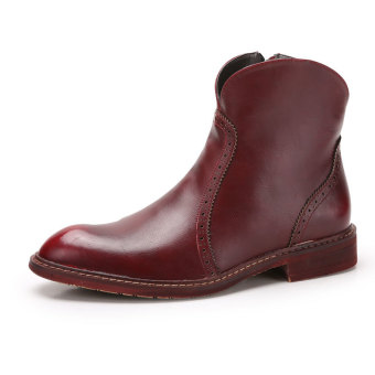 Tauntte Fashion Men Cowboy Boots Keep Warm Genuine Leather BikerBoots (Red) - Intl Price Philippines