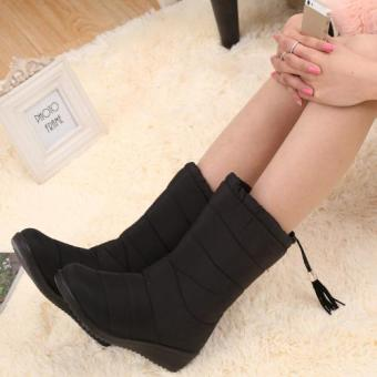 Tauntte Winter Women Martin Boots Fashion Waterproof Snow BootsKeep Warm Mid-Calf Boots (Black) - intl Price Philippines