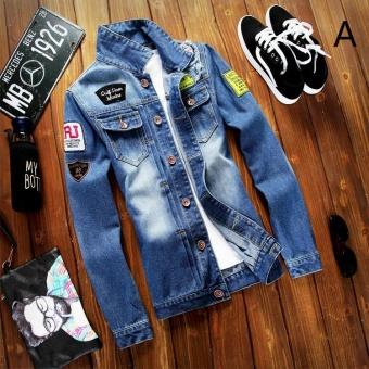 Teenager Spring and Autumn New Denim Jacket Men Korean Student Tide Korean Slim Jacket Men's Clothingstyle:A - intl