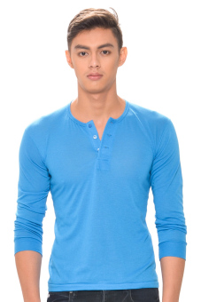Tex-Cock Long Sleeves Camisa de Chino (Marine Blue) Price Philippines