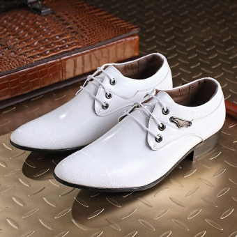The British Youth Business men's shoes pointy-toe leather shoes White