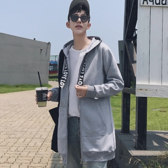 The Fall in the Long Coat Man Trend of Korean Casual Hooded Jacket and a Handsome Male Cardigan Coat - intl