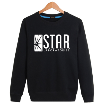 The Flash cotton crew neck pullover men's casual jacket hoodie Star laboratory black