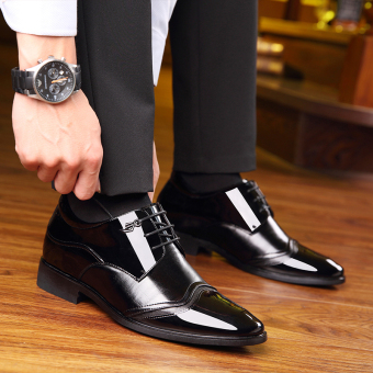 The groom Plus velvet man 8cm business casual wedding shoes ever elevator leather shoes Black