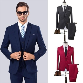 The High Quality Spring Business and Leisure Suit A Two-piece Suit The Groom's Best Man Wedding 8 Colors - intl