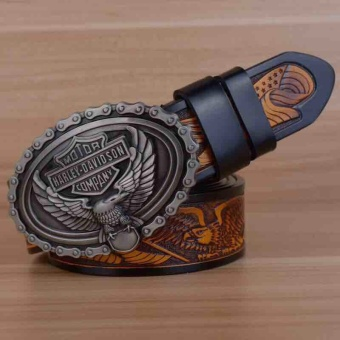 The new fashion leisure eagle head brass buckle head layer cowhide leather belts - intl