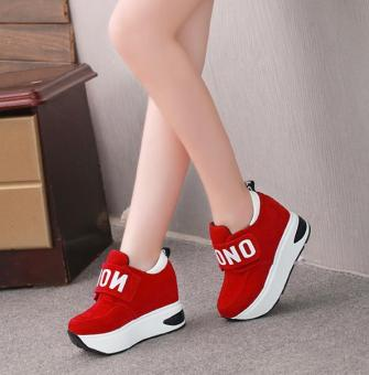 The new Korean casual shoes women's high-heeled robe sneaker -red - intl