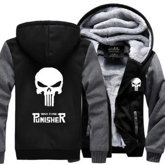 The Punisher Skull Coat Jacket Fur Hoodies Costume Cool Costume CosplayBlack&Grey