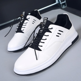 The Summer Male Shoe Leather Casual Shoes Men's Casual Shoes Men Shoes New Men's Korean Tide White - intl