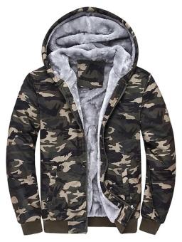 Thermal Zip Up Camouflage Hoodie - intl