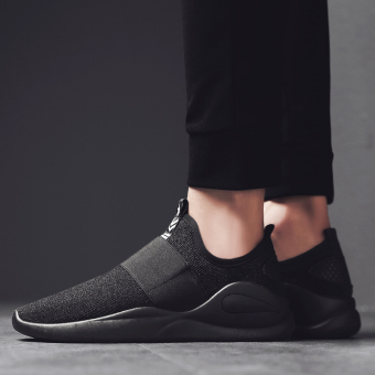 Thick bottomed low top Rubber shoes Sneakers mesh shoes All black
