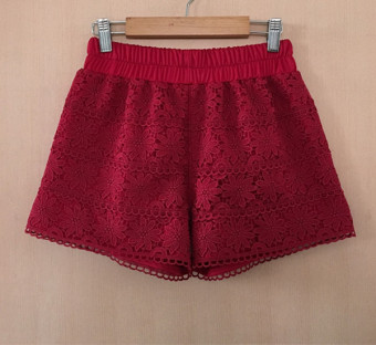 Three points white New style women's Spring and Autumn safety shorts (Wine red color) (Wine red color)