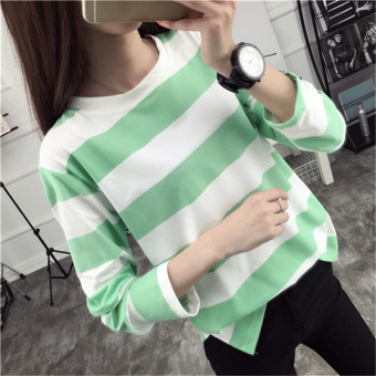 Tingdisha Women's Casual Striped Slit Long Sleeve T-Shirt (Green)