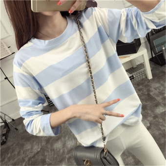 Tingdisha Women's Casual Striped Slit Long Sleeve T-Shirt (Light blue)