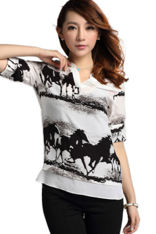 Toprank Spring Summer Autumn Womens Chiffon V-Neck Ink Horse Printed Long Sleeve Shirt Casual Blouse Tops ( White )