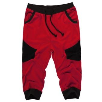 Topsellers365 COOFANDY Men New Style Informal Elastic Waist Drawstring Patchwork Contrast Color Training Jogger Sport Short Capri Baggy Pants  Red  - intl