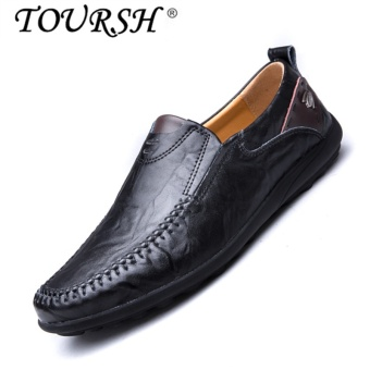 TOURSH Men Casual Leather Shoes Loafer Shoes Flat Drive Fashion Shoes black