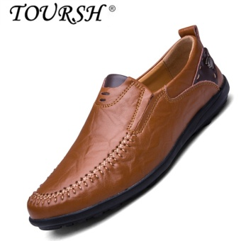 TOURSH Men Casual Leather Shoes Loafer Shoes Flat Drive Fashion Shoes red brown