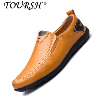 TOURSH Men Casual Leather Shoes Loafer Shoes Flat Drive Fashion Shoes yellow brown