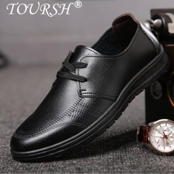 TOURSH Men Dress Shoe Genuine Leather Men's Business Shoes Male Black Elegant Formal Loafer