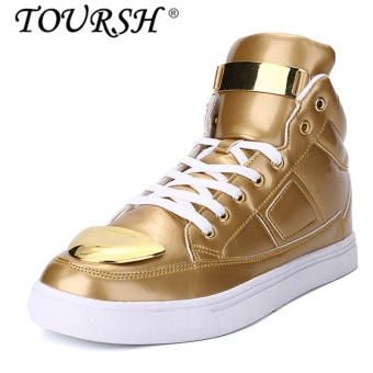 TOURSH Men Fashion High-top Shoes Casual Sports Board Shoesgold