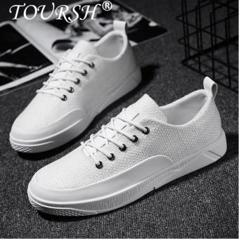 TOURSH Men's Casual Shoes Fashion Shoes Men Soft Leather Male Classic Black White Plate shoes