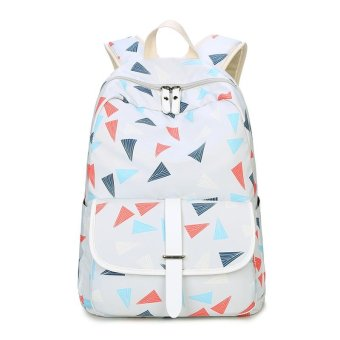 Tourya Fashion Backpack Women Cute Triangles Printing BackpacksShoulder School Bags for Teenagers Girls Travel Laptop BackPack(white) - intl