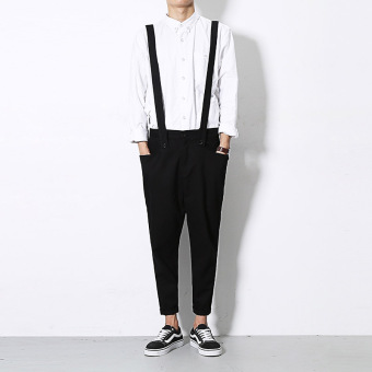 Trendsetter and solid summer feet one-piece jumper pants Black