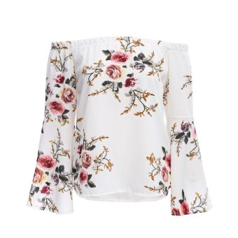 Trendy Off The Shoulder Long Bell Sleeve Floral Print Chiffon Blouse for Women - intl