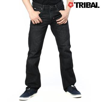TRIBAL Men's Slim Straight Denim Jeans Black