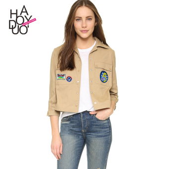 Tuan haoduoyi2017 European and American autumn New style embroidered casual jacket single-breasted