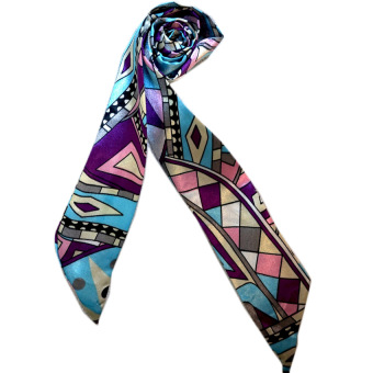 Twilly Silk Scarf And Wraps Bag Accessory Geometric Print Design(Violet)