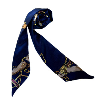 Twilly Silk Scarf And Wraps Bag Accessory Goldchain Print Design(Navyblue)