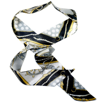 Twilly Silk Scarf And Wraps Bag Accessory Whitechain Print Design(Black)