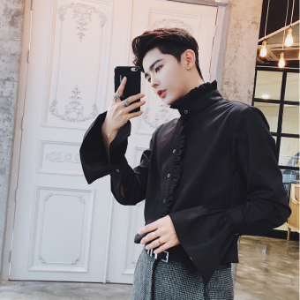 Ulzzang autumn gong ting feng flounced elegant Long sleeve shirts Black Black