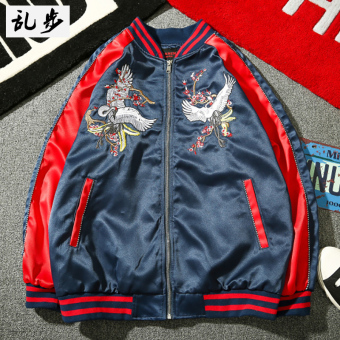 Ulzzang baseball jacket embroidered JACKET 3160 embroidered Crane jacket blue Hong 3160 embroidered Crane jacket blue Hong