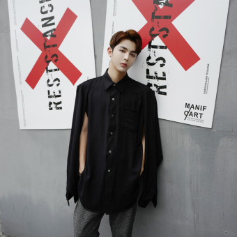 Ulzzang cool porous men Long sleeve shirts Black Black