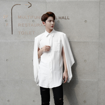 Ulzzang cool porous men Long sleeve shirts Ivory Ivory
