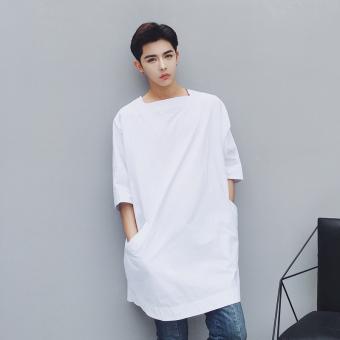 Ulzzang fashion summer slimming Men short sleeved shirts Black Black