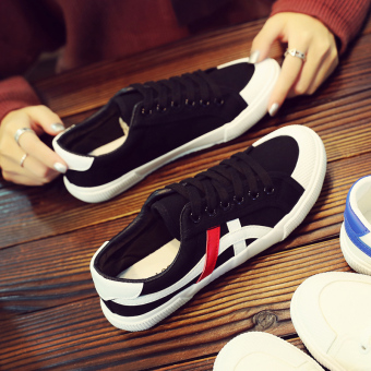 Ulzzang female breathable BayMini shoes New style canvas shoes (Black and white)