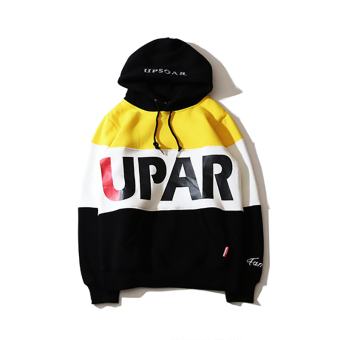 Ulzzang Japanese-style men and women mixed colors lettered printed hooded hoodie couple's hoodie Yellow + black