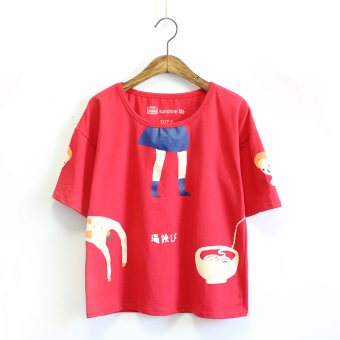 Ulzzang Japanese-style New style soft t-shirt (Red) (Red)